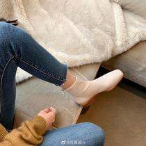 SS04116692冬季新款方头粗跟中跟时装靴短靴2020星期六弹力靴袜靴