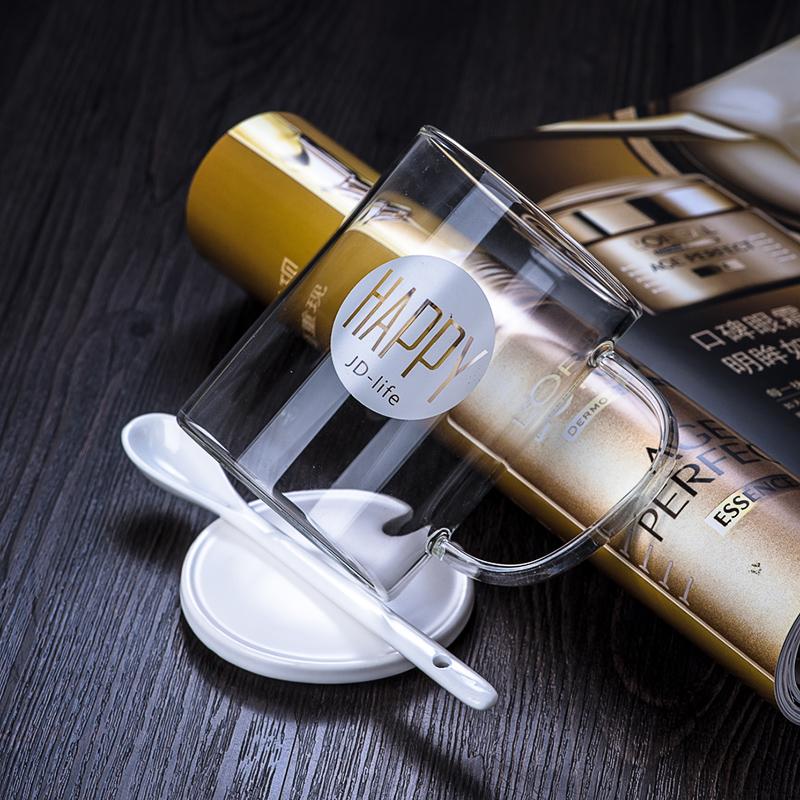 千易 簡約高硼矽玻璃杯馬克杯帶陶瓷蓋勺早餐牛奶杯大容量水杯