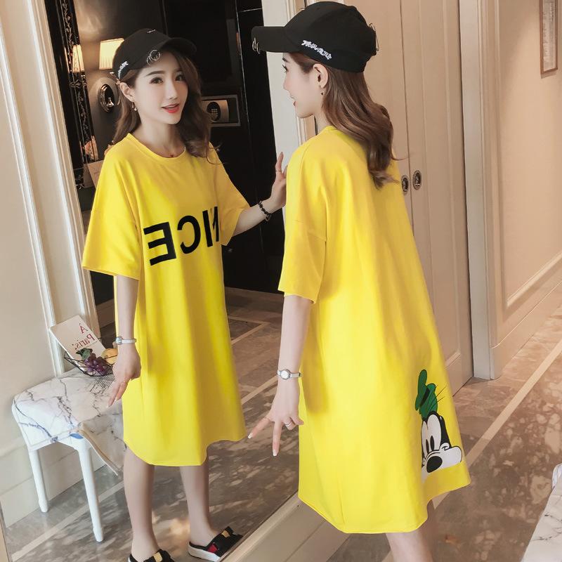 连衣裙2019夏季款女装夏季韩版大码中长款修身显瘦短袖T恤裙子女