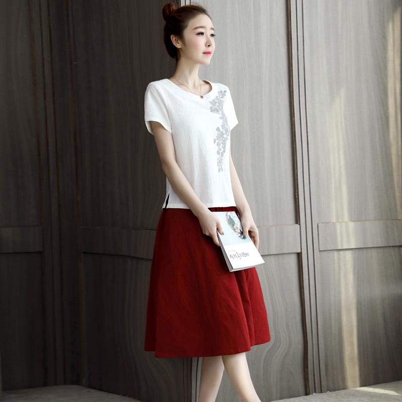 女生套装两件套女 韩版学生半身裙套装短袖圆领上衣小衫配中长伞