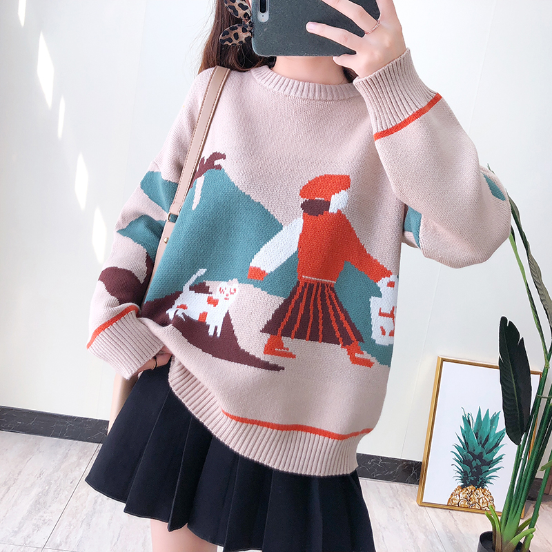 Sweater womens ins series loose Slouchy cartoon pattern long sleeve thickened autumn winter 2019 new Pullover