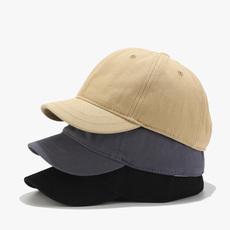 短帽檐棒球帽子男女遮阳帽情侣软顶帽小沿棒球帽马术帽鸭舌帽韩版