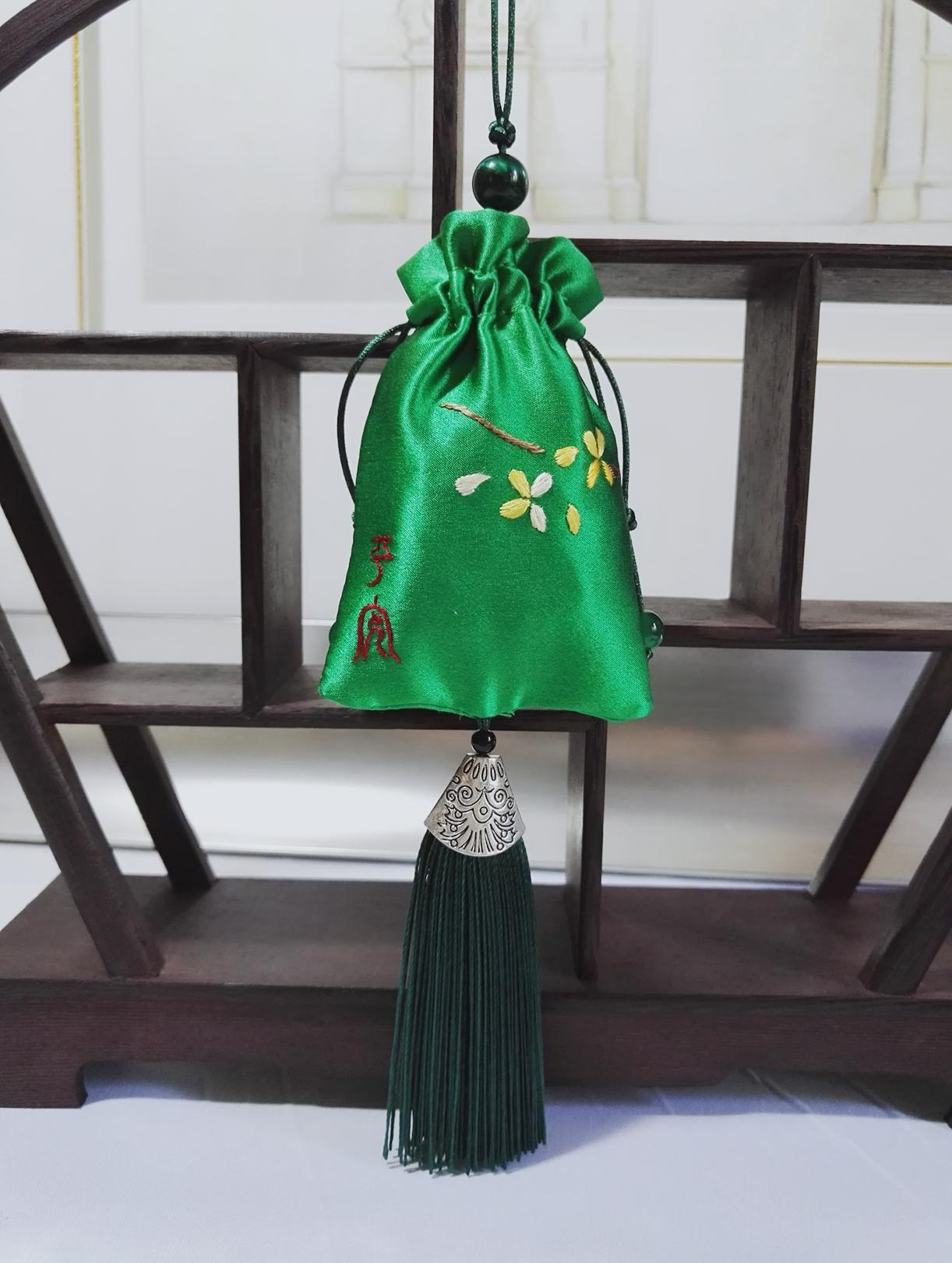 """Сычуань вышивать мускусный мешок автомобиль ручной работы вышивка шелк вышивать статья """" прекрасный сын аромат """" синий / зеленый ладан мешок"""
