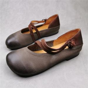 外贸真皮复古文艺范森系女鞋头层牛皮平底软底牛筋底防滑透气单鞋