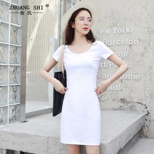 女装低U圆领纯棉紧身T恤式连衣裙短袖夏季韩版修身显瘦包臀打底裙