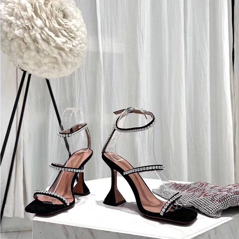欧美2019夏季新款一字扣带露趾凉鞋女性感粗跟水钻高跟鞋网红同款