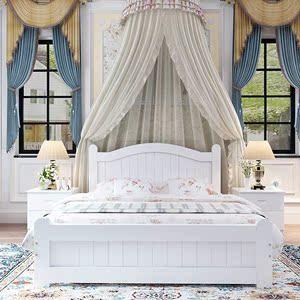 简约全木床白色松木床公主床儿童单人床家具双人床1.81.21.5m米