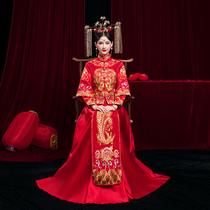 中式嫁衣秀禾服2021新款新娘敬酒服婚纱古装龙凤褂结婚礼服旗袍裙