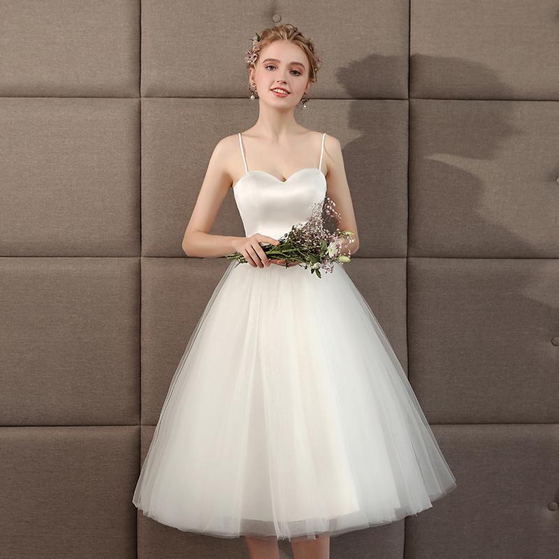 婚纱春夏吊带短款森系旅拍轻伴娘服热销56件不包邮