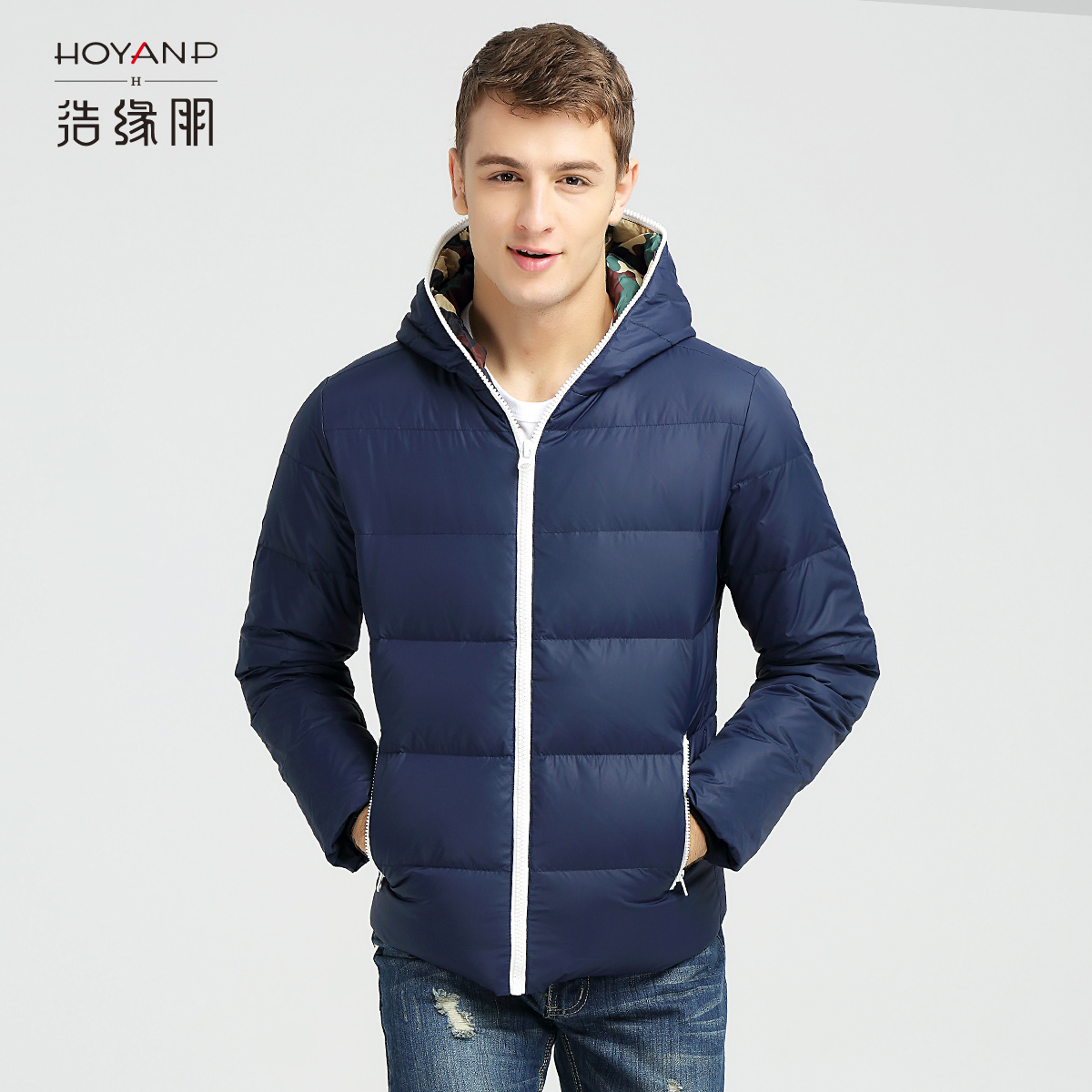 Haoyuanpeng mens hooded short mens down jacket bread Jacket Large and thickened winter anti season clearance down jacket