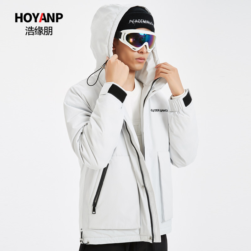 Haoyuanpeng 2019 new popular mens down jacket fashion trend handsome mens hooded work clothes winter coat