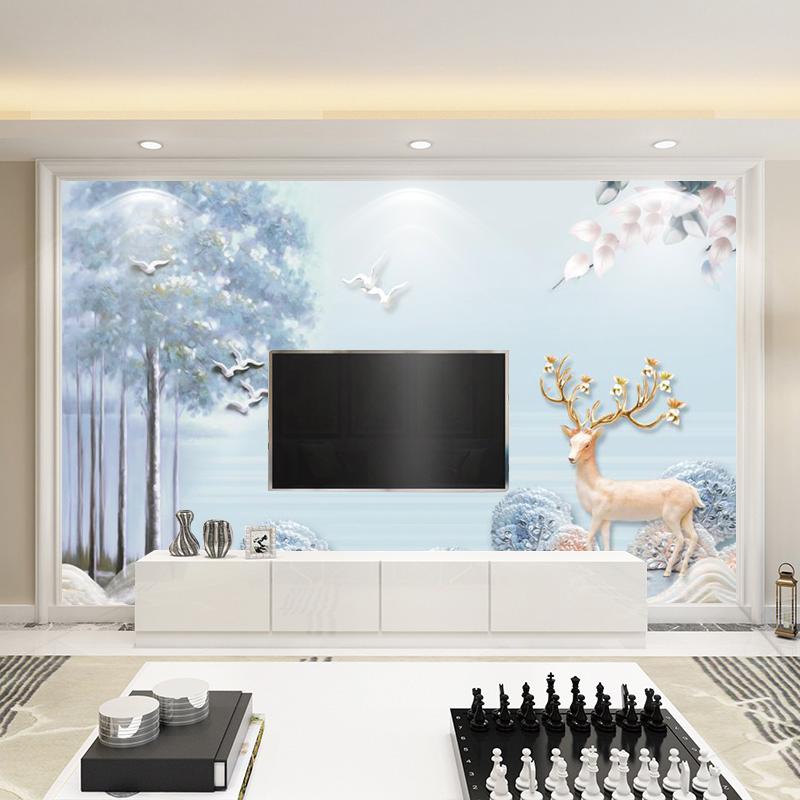 北欧客厅简约现代8d电视背景墙壁纸