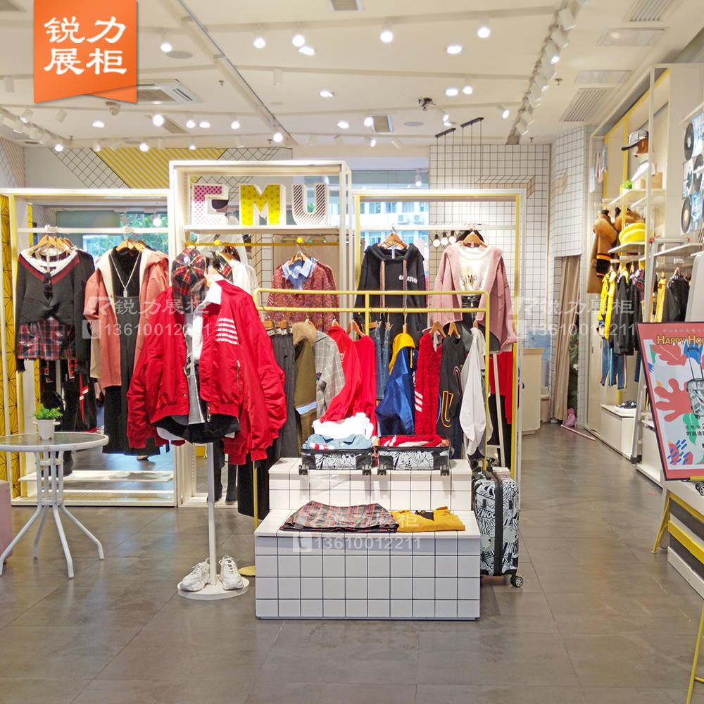限4000张券女装店简约白色铁艺落地式靠墙货架