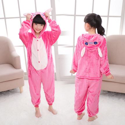 动物卡通连体睡衣加厚款法兰绒儿童男孩女童宝宝可爱春秋小孩恐龙