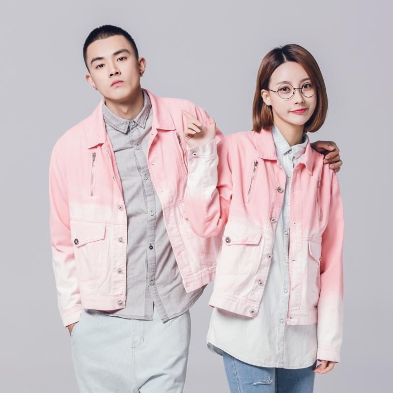 Original trendy pink gradient denim youth loose wash old Lapel work clothes couple jacket jacket man