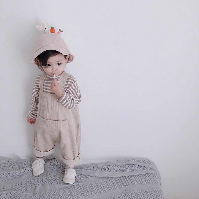 幼悠2女童春秋冬款灯芯绒背带裤宝宝婴儿连体裤休闲条绒裤子1儿童