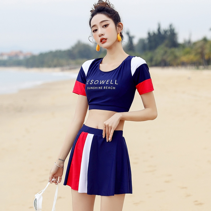 Color diving suit sports swimsuit female swimsuit female summer split student conservative college style two piece swimsuit