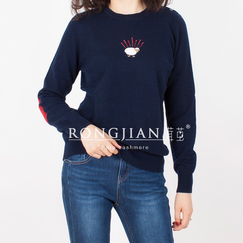 Womens round neck with buckle all cashmere knit sweater with lamb pattern straight tube commuter sweater