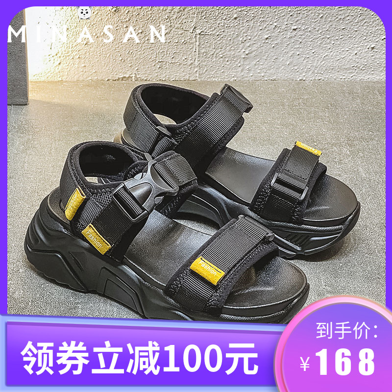 Minasang sports father sandals womens 2020 summer new slim high Velcro sponge shoes buckle thick bottom