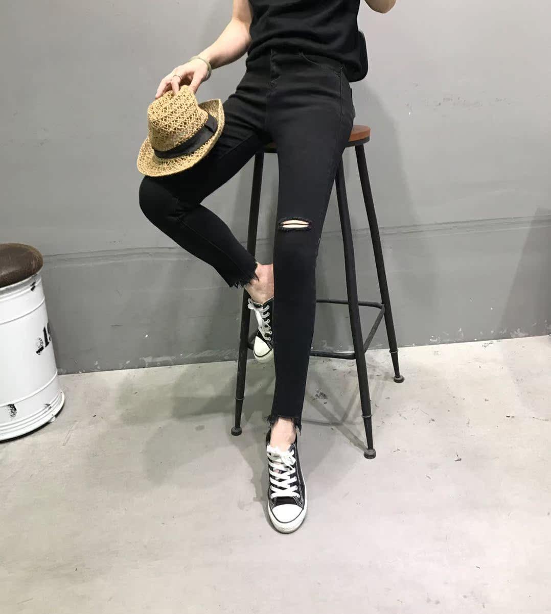 VINTAGE PUDR2018新款韩版时尚修身破洞毛边百搭牛仔铅笔裤女6199