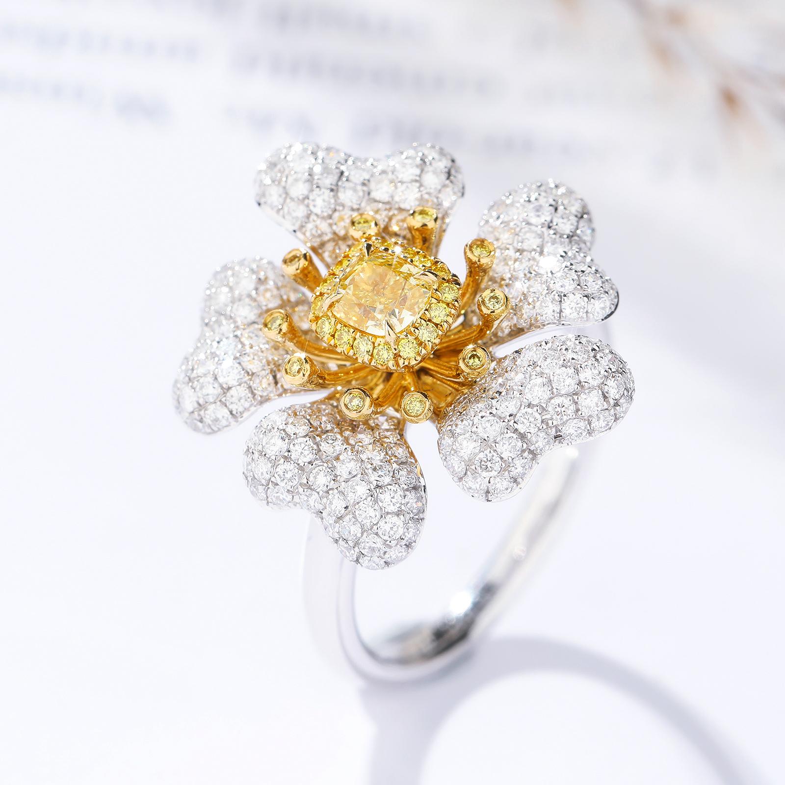 穆莱欧 40分枕形浓彩黄钻石奢华霸气香水花瓣造型戒指仙女款钻戒