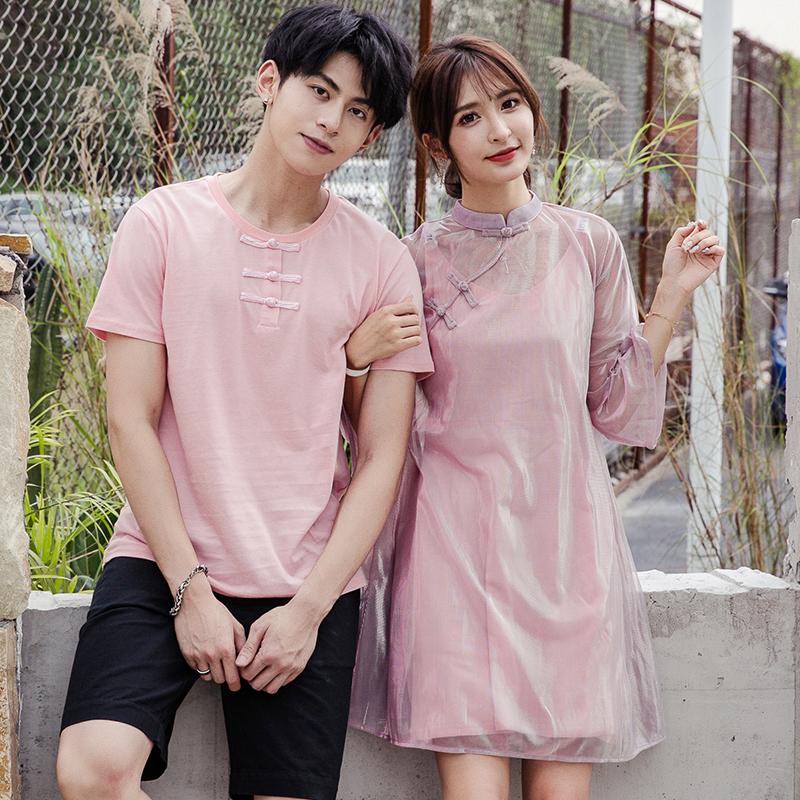 热销34件限时2件3折中国风情侣装夏装2019新款小众设计感短袖T恤改良旗袍女连衣裙子