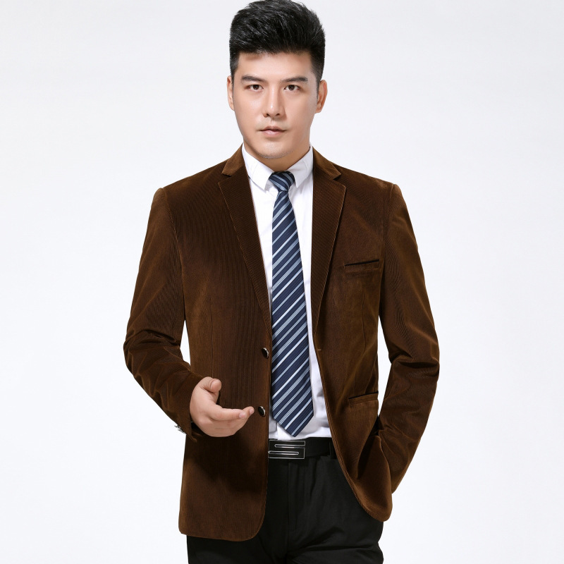 Autumn and winter mens suit fashion leisure middle-aged wool single suit stripe trendy mens coat extra wide and thick