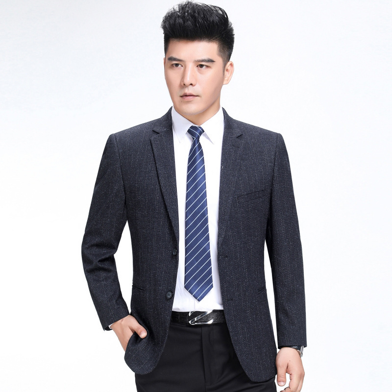 Ouana autumn and winter mens suit fashion leisure middle-aged wool single suit striped coat with long sleeves
