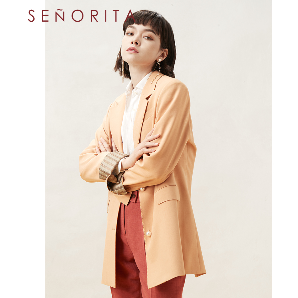 Senorita early autumn new style casual fashion single breasted folding sleeve loose suit jacket for women