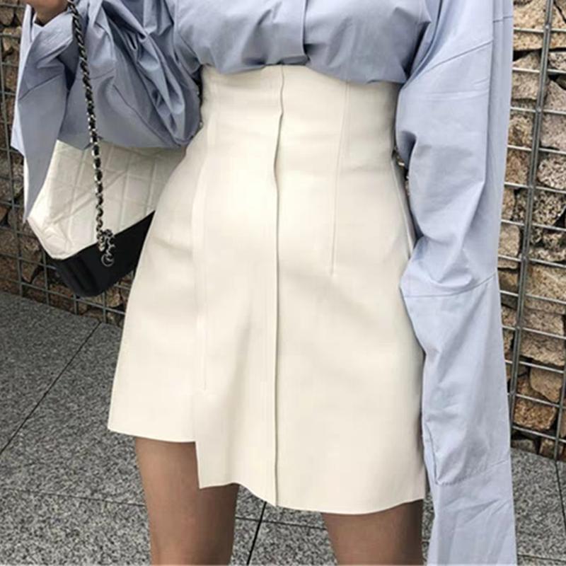 不规则半身裙春夏高腰白色皮裙女2020新款网红爆款显瘦a字裙短款