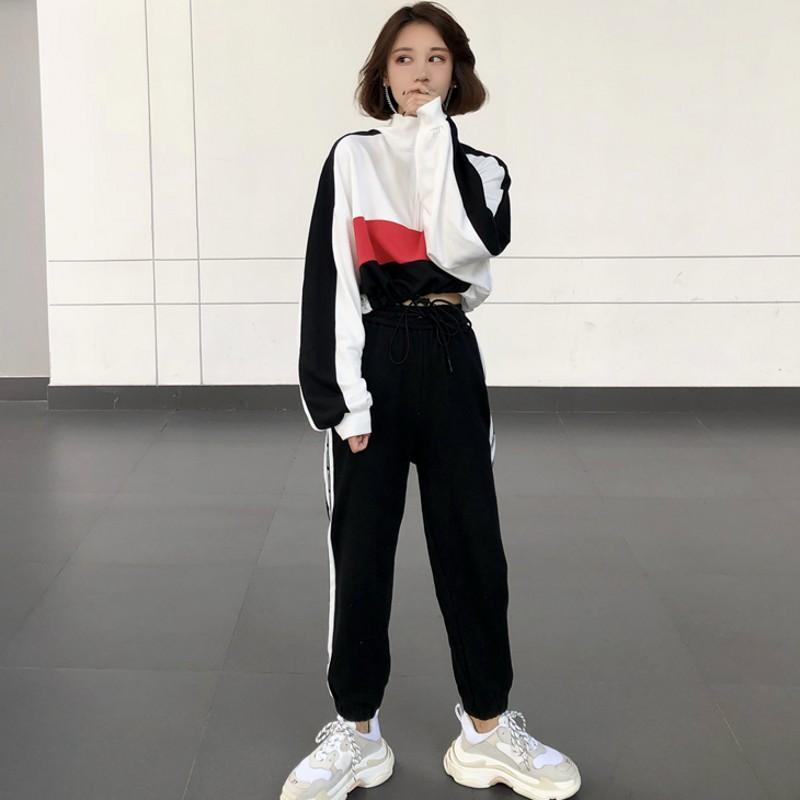 嘻哈风格女装套装女秋季短款撞色卫衣侧边撞色运动裤帅气两件套潮