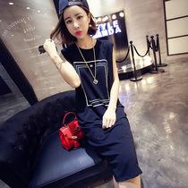 厂家直销精品女装2018夏季新款韩版印花大码中长款宽松背心连衣裙