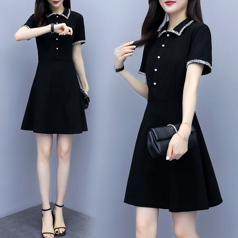 POLO领连衣裙2020新款夏季收腰显瘦休闲保罗衫运动赫本风黑色裙子
