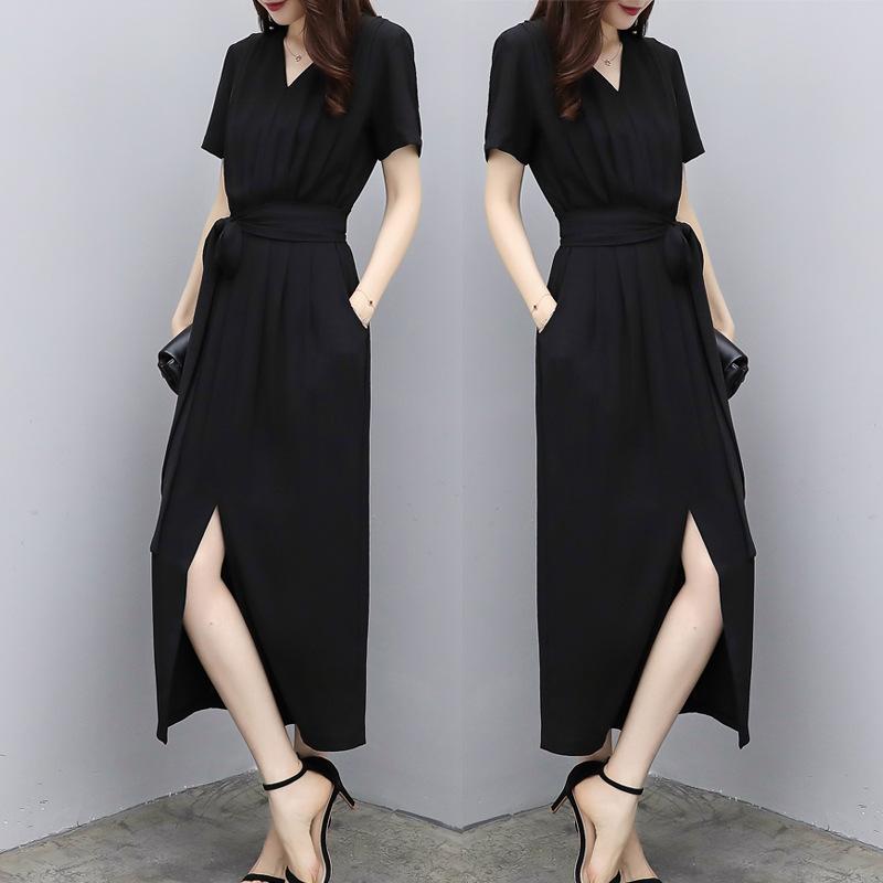 气质赫本风雪纺连衣裙女夏2020新款收腰显瘦黑色v领开叉过膝长裙