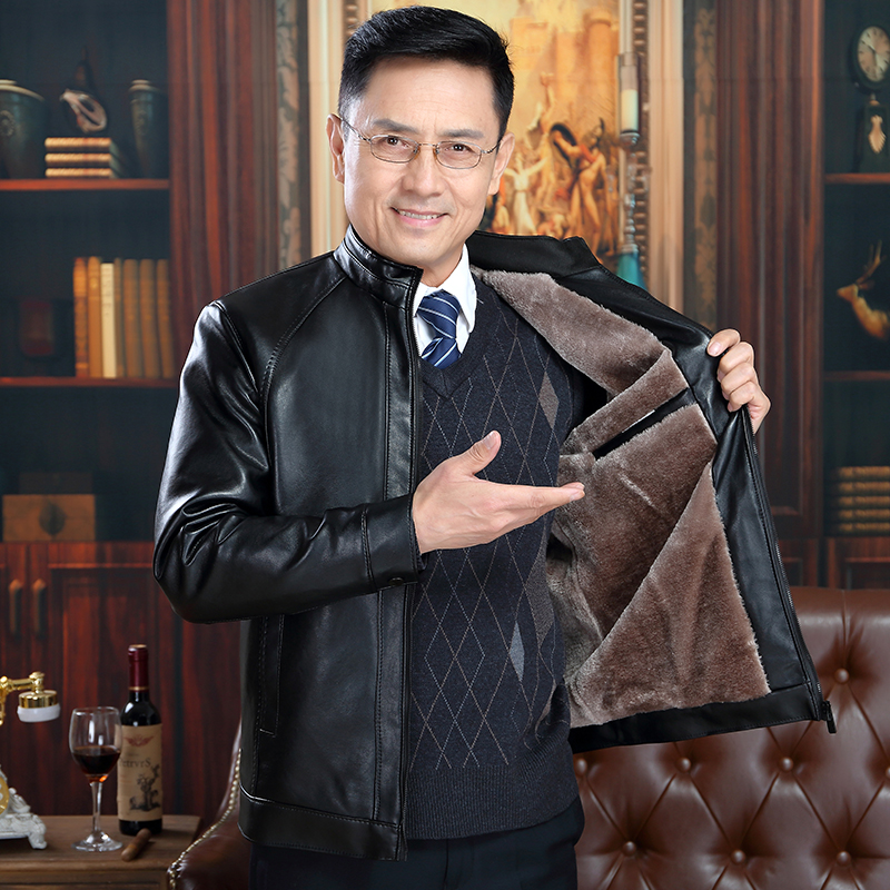 New middle aged mens leather clothes fathers clothes autumn winter PU leather jacket middle aged and old mens coat Plush thickened winter