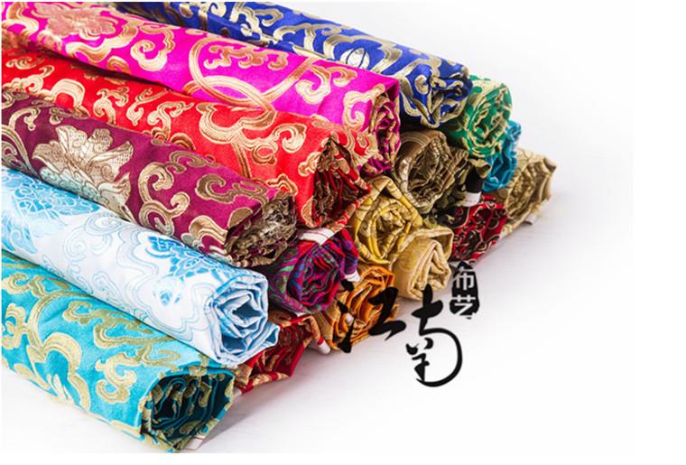 富贵花织锦缎布料红木家具靠垫坐垫宠物服装布料演出服时装布料
