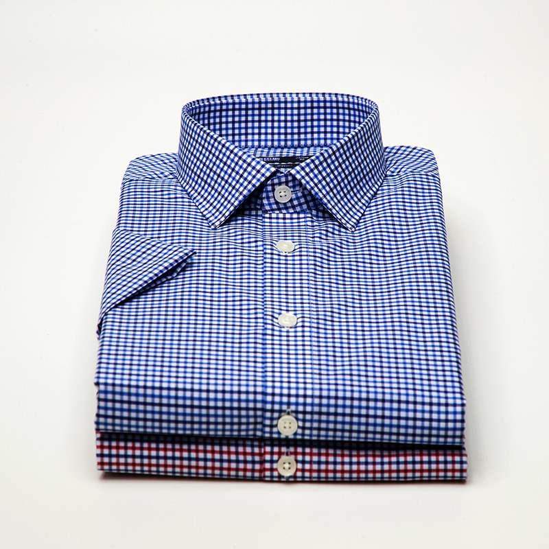 正品鲁泰佰杰斯男士短袖夏季修身免烫衬衫纯棉休闲格子程序员职业