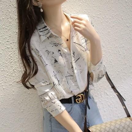 衬衫女长袖印花2021春季新款雪纺上衣韩版气质衬衣百搭宽松打底衫