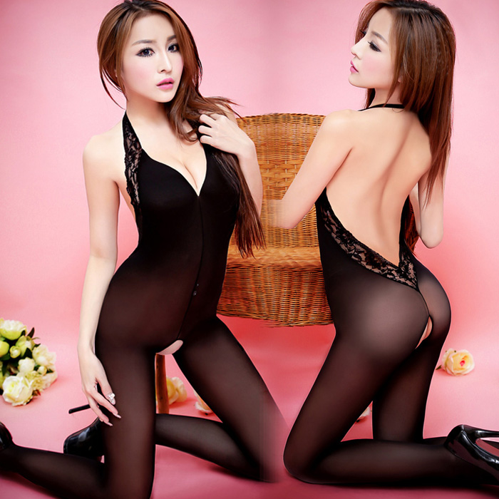 超薄蕾丝花边连体丝袜黑色性感女情趣内衣开档连裤袜极度诱惑