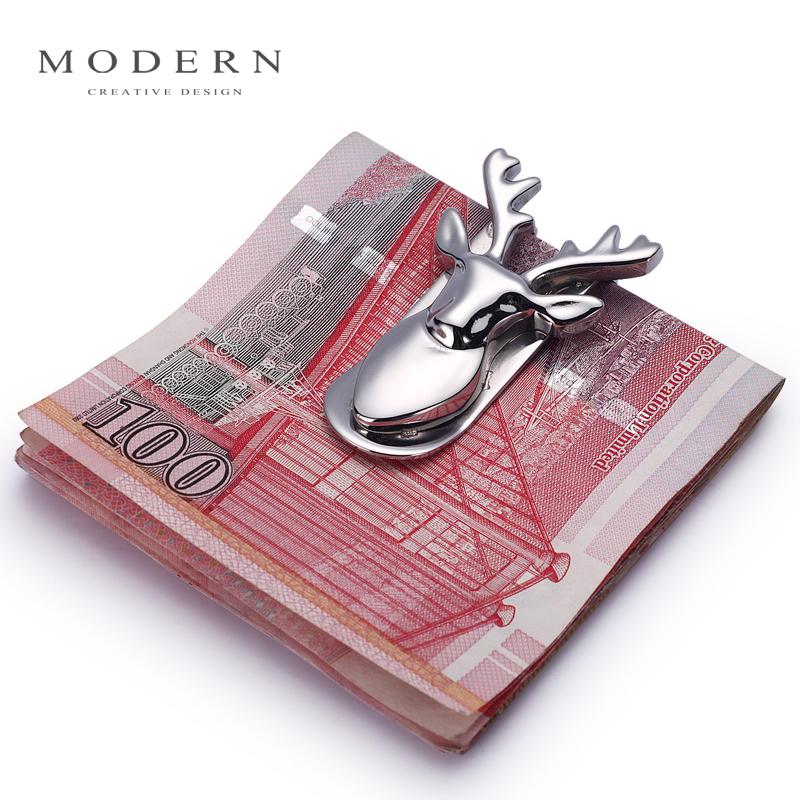德国Modern 生财有鹿钱夹 金属钱夹 高档男创意钞票夹 不锈钢钱夹
