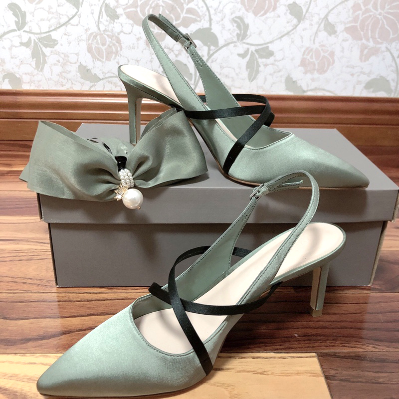 Shoes womens 2021 new small CK cross strap thin heel shallow mouth high heel shoes pointed back empty Satin fashion shoes