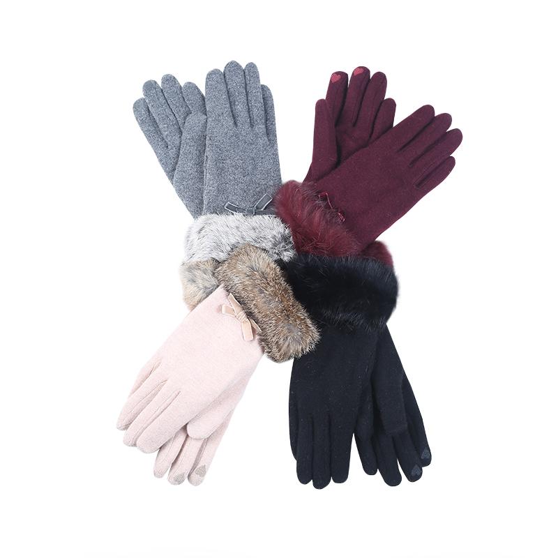 【双层内里更保暖】日本Canarie卡那利亚蝴蝶结装饰羊毛手套