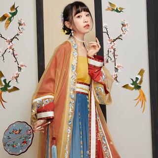 【十三余 小豆蔻儿】[金钗斗]刺绣双层褙子吊带一片式齐腰裙汉服