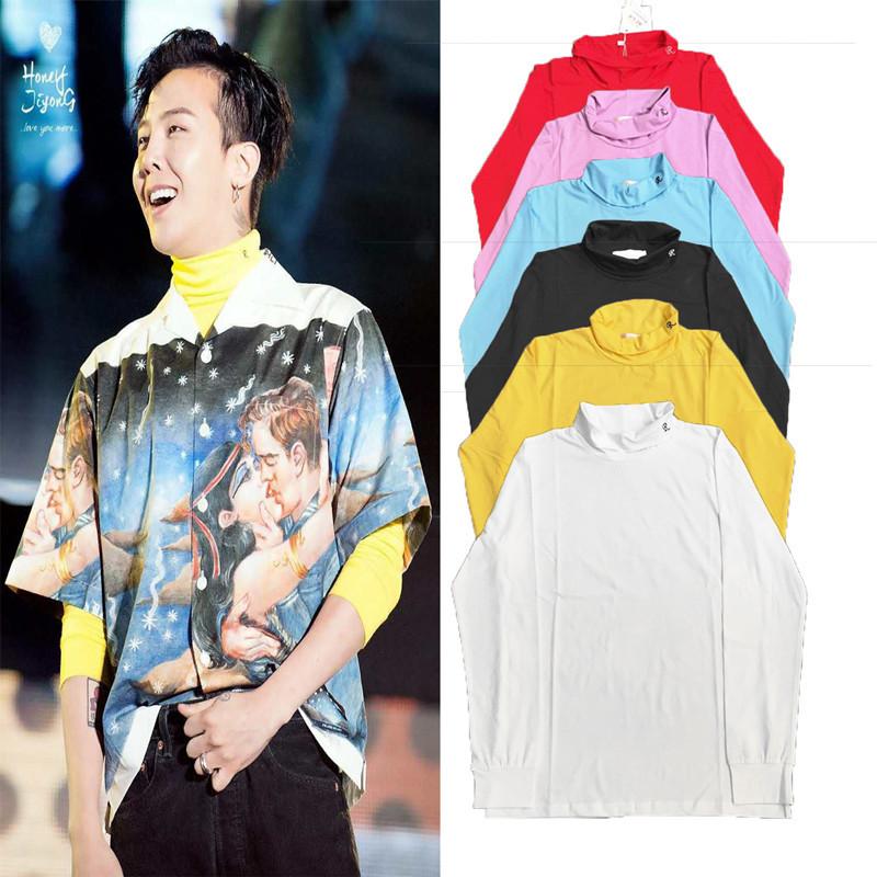 BIGBANG GD权志龙同款卫衣 打底衫修身高领R刺绣长袖六色男女外套图片