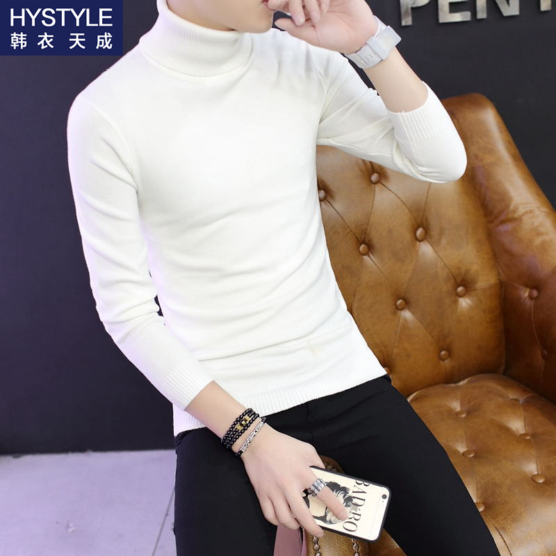 High collar sweater mens pure white thin sweater Korean slim bottomed sweater middle collar sweater 2020 new sweater