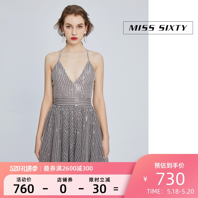 Miss Sixty Spring and Summer Slice Embroidered Flash Short Skirt V Collar Slope High Waist Dress