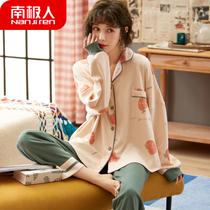 冬季情侣睡衣男士加厚珊瑚绒三层夹棉可外穿女士冬天加绒保暖套装