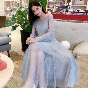 新款秋季200斤胖m大碼女裝修身顯瘦遮肚減齡大擺網紗仙女裙兩件套