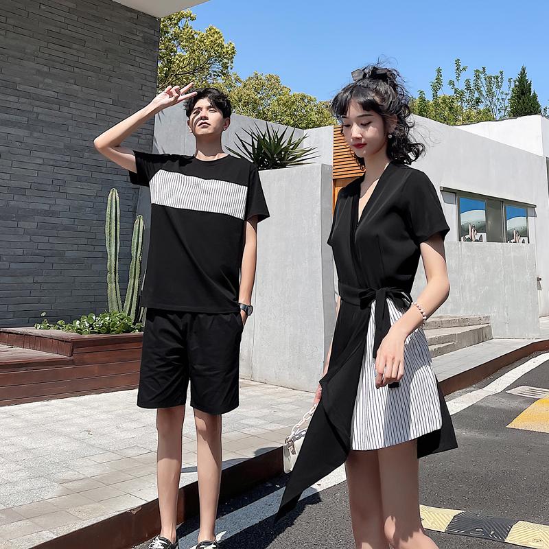617C-2112P60男55 夏季新款情侣装男拼接T恤黑短裤女连衣裙套装
