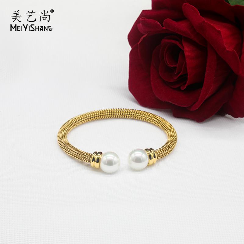 欧美经典款珍珠玫瑰金编织手镯女时尚钛钢开口扼子不掉色网红饰品